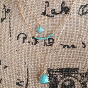 Jewelry - NWOT Three Strand Turquoise Statment Necklace
